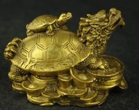 Wholesale Chinese Brass Statues - Exquisite Chinese hand carved brass fortune dragon turtle auspicious statue
