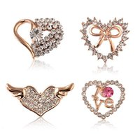 Wholesale Red Heart Rhinestone Brooch - Brooch Rhinestone Crystal Brooches Jeweled Brooches Multicolor Heart Brooch Valentines Gift 2017 New Style Brooches for Women