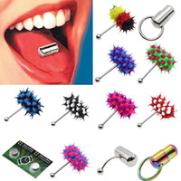 Wholesale Tongue Rings Vibrate - Color Stainless Steel Vibrating Massage Tongue Ring Stud Body Piercing Barbell #R91