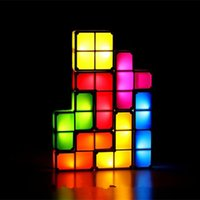 Wholesale Diy Blocks Lamp - Wholesale- DIY Tetris LED Lamp Light-Up Toys Block Lamp Desk Decorative Lamp Colorful LED Light Box Retro Game Style Assembled Model