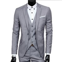 Wholesale Tuxedo Grey Black Shirt - Tailor made groom suits tuxedos simple fashion men shirt high quality groomsman party feast dress suits(jacket+vest+pants)
