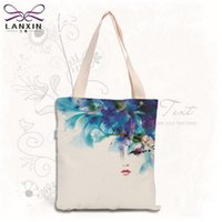 772521d6e4 large canvas beach bags 2019 - Wholesale- Sketch Floral Printed Canvas Tote  Female Single Shopping