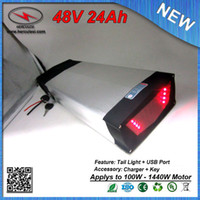 Wholesale Used Tail Lights - Deep Cycle 1200W 48V 24Ah Electric Bicycle Rear Rack Battery with USB Port & Tail Light Used Samsung cell 30A BMS + 2A Charger