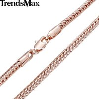Trendsmax 3mm Wide Foxtail Box Link Rose Gold Filled Necklace Venta al por mayor Unisex Chain Girls Boys Fashion Jewelry GN346