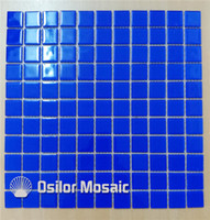 Wholesale Mosaic For Pool - blue crystal and glass mosaic tile for bathroom and kitchen swimming pool wall tile 25x25mm 4 square meters per lot