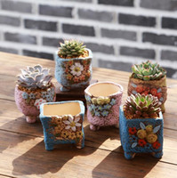 Wholesale Hand Painted Ceramic Pots - Hand-painted ceramic pot ornaments decorated mini-flower succulent plants pots hot 6 styles ceramic flowerpot free shipping