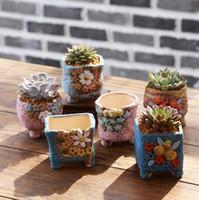 Wholesale Ceramic Flowerpots - Hand-painted ceramic pot ornaments decorated mini-flower succulent plants pots hot 6 styles ceramic flowerpot free shipping
