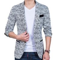 Wholesale Small Korean Jacket Coat - Wholesale- Korean Hitz small suit slim fit fashion cotton blazer Suit Jacket black blue beige blazers Mens coat jacquard