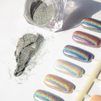 lazer tozu çivisi toptan satış-Toptan Satış - Toptan-1g Lazer Gümüş Holografik Nails Glitters Toz DIY Nail Art Sequins Krom Pigment Toz Parlak Sihirli Lazer Ayna Toz Nails