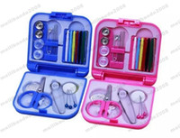 Wholesale Wholesale Fabric Tape Trim - 2017 NEW Portable Travel Sewing Kit Thread Needles Mini Plastic Case Scissors Tape Pins Thread Threader Set Home Sewing Tools MYY
