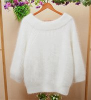 Wholesale Winter Coats Japan - 2017 autumn and winter white thicken loose long hair fluffy angora rabbit fur long-sleeeve pullover sweater coat women cashmere sweater
