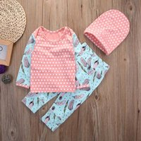 Wholesale Girl Set Long - hot selling girls suits Cotton Newborn Toddler Baby Girls Long Sleeve Tops dream catcher dot printed tshirt+Pants+Hat Outfits Set Clothes