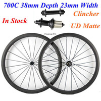 Powerway R13 Hubs Carbonio stradale completo Wheelset 700C 38mm Profondità 23mm Larghezza Clincher UD Matte In magazzino Carbon Bicycle Wheels