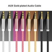 Wholesale Car Stereo Speaker Wire - 3.5mm Audio AUX Stereo Cable Male to Male Braided Woven 1M Nylon Auxiliary Wire Metal Port For iPhone Andoid Mobile Car Speaker