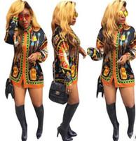 Wholesale Long Sleeved Pencil Dresses - New Fashion Women Short Mini Dress African printing Plus Size Dashiki Boho Long-sleeved single-breasted Shirt dress