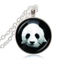Wholesale Chinese Glass Plates - Panda Bear Necklace,Asian Wildlife Art Pendant,Animal Jewelry,Chinese National Treasure Photo Glass Cabochon Necklace