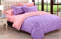 Wholesale Moon Stars Bedding Sets - NEW-AA-Home textiles,Purple  pink star moon bedding sets include comforter cover bed sheet pillowcase,linen,bedclothes,Free shipping