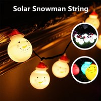 Atacado - Waterproof Solar Powered Ball Branco Snowman LED String Light Outdoor Natal LED Holiday Light Decoração de casamento de Natal