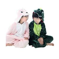 ropa de noche chicos al por mayor-niños lindos pijamas de una pieza dragón de dibujos animados / dinosaurio ropa de dormir gruesa para 3-10 años chilren niños niñas onesie pijamas ropa de noche