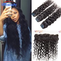 Wholesale Indian Wavy Lace Closures - VIPbeauty Indian water wave lace frontal closure with 3 bundles,wet and wavy Indian virgin hair with closure