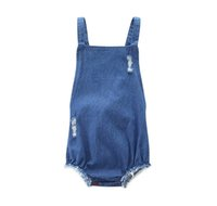 Wholesale Denim Boys Suspender - 2017 Boy Girls Denim Baby Rompers Summer Suspender Newborn Onesies Clothing ins Casual Toddler Romper Infant Bodysuit Boutique Clothes
