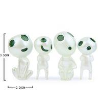 figuras elfas al por mayor-4pcs nuevos llegada / set regalos de la figura de acción de juguete luminoso árbol Elfos Miyazaki dibujos animados princesa Mononoke juguetes de niños por mayor