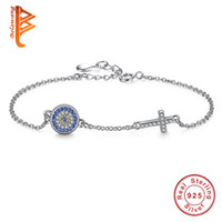 Wholesale Cross Evil Eye Bracelets - BELAWANG Novel Design Jewelry for Women Classic Blue Evil Eye&Crystal Cross Bracelet Bangle 925 Sterling Silver Link Chain Charms Bracelet