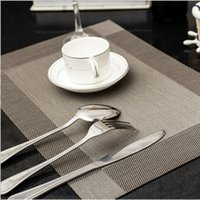 Wholesale Waterproof Table Pad - European Style pvc dining table mat disc pads bowl pad coasters waterproof table cloth pad slip-resistant pad Plaid Vinyl Placemats