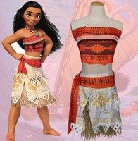 Wholesale Petti Lace Dress Baby - Children Adult Moana Inspired Costume Clothing Coat+Belt+Grass skirt+Petti Skirt Baby Kids Cartoon Moana Cosplay Costume Dress KKA2333