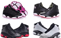 Wholesale Girls Sneakers For Cheap - 28-35 kids sneakers retro 13 basketball shoes 2017 for boys girls black red white black pink cheap XIII sale high top quality US 11C-3Y