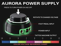 Wholesale Tattoo Power Foot - Solong tattoo New Critical Aurora Tattoo Power Supply for Tattoo Machine 2 Foot Pedal Mode P176