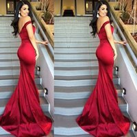Wholesale Fabric Deco - Simple Wine Red New Arrival Evening Mermaid Dresses Off the Shoulder Shiny Fabric Hollow V Back Party Prom Gowns