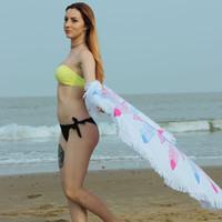Wholesale Disposable Microfiber Face Towels - Fiber Sandy Microfiber Round Beach Towel Yoga Mat With Tassels Reactive Sunbath Bath Towel Serviette De Plage Picnic Blanket