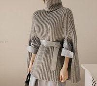Wholesale Roll Neck Pullover - 2017091916 Grey Sweater Roll Neck Poncho Jumper With Arm Hole Women Sweaters and Pullovers Winter 2017 Ladies Elegant Sweater