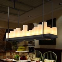 Wholesale Candle Light Kitchen - Kevin Reilly Altar Modern Pendant Lamp Remote Control Chandelier Candle Light Fixture Suspension Lamp Rectangular Wrought Iron Pendant Light