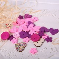 Wholesale Hot Sale Mixed Hole Wooden Buttons Red Heart Pattern Decorative Buttons Fit Sewing DIY Scrapbooking Craft TY2172