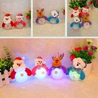 Wholesale Santa Bear - Luminous Santa Claus Snowman Bear Elk 4 Styles Exclusive Super Cute Christmas Decoration Tree Decorations Light Toy 0708050