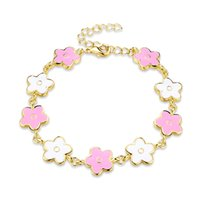 Wholesale Enamel Color Charm - Fashionable Pink and White Color Clover Pattern Enamel Process Charm Bracelet for Women and Girls by Hcish Jewelry AKB024