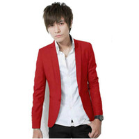 korean slim lazer ternos venda por atacado-Homens XL XXL XXXL Cor Sólida Único Botão Lazer Terno Coreano Moda Slim Fit Casual Blazer Vermelho Rosa Branco Azul