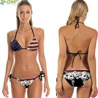 Wholesale Womens Vintage Bathing Suits - Vintage USA Flag Bikini Set Bandage Bathing Suits Harajuku Skulls Swimsuit Womens Push Up Brazilian Swimwear Red Stripes Print