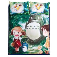 Wholesale Totoro Comforter Set - 3D Bedding Set Bedsheet Reactive Printing Totoro Pattern Home Textiles Duvet Covers Bed Linen Pillow Cases Wholesale