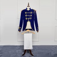 Wholesale palaces for sale - Hot Sale 2016 Medieval Renaissance Europe Palace Prince Suits Costumes Blue Slim Drama Performance Costumes For Men