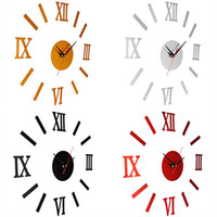 Wholesale Wall Clocks Roman Numerals - Wholesale-Vintage Roman Numerals Frameless Wall Clock 3D Home Decor Wall Art Stickers