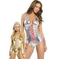 Wholesale Sexy Pvc Teddy - Gold Silver PVC Sexy Lingerie Catsuit Latex Dresses Hot Sexy Woman exotic Hollow Out leotard Teddies m2036