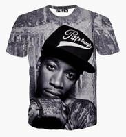 Wholesale Punk Clothing Women Xl - 2017New fashion men women 3D t shirt printed character portrait Wiz Khalifa Hip Hop rock singer punk tshirts summer tees clothes