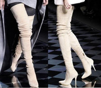 Bottillons D'hiver Sexy Pas Cher-Chaussure Femme 2017 Femmes Chaussures d'Hiver Talons hauts Bout Pointu Overknee Entrejambe Booties Stretch Femme Sexy Suede Stiletto Cuissardes