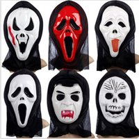 ingrosso mascherata maschere bianco rosso-New White / Red Horror Scream Mask with Scarf Halloween Masquerade Party Masks Rifornimenti del partito 10pcs / lot