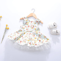 Wholesale Printed Princess Dresses Holiday - 2017 New Girls Floral Print Summer Dress Candy Color Western Princess Party Dress Western Fashion Cute Children Holiday Dress