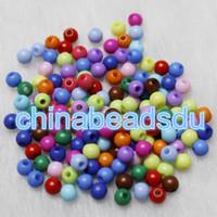 ingrosso perline acriliche-Bulk all'ingrosso 1500PCS sciolto rotondo acrilico colore solido piccolo seme 4MM per gioielli fai da te