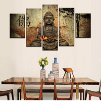 Wholesale Large Buddha - 5 Piece Large Canvas Wall Art Buddha Painting Print On Canvas Modern Abstract Pictures Wall Decor Art-paintings for living room wall